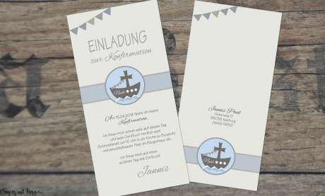 Einladung Kommunion Boot Schiff Junge modern Wimpel Vintage