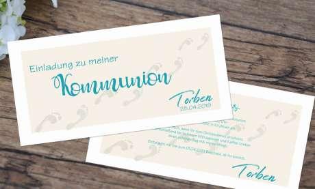 Einladungskarten Kommunion Fußspuren Weg mit Jesus
