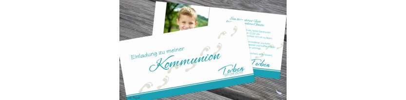 Einladung Kommunion türkis Fußspuren Motto