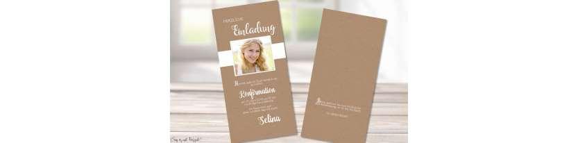 Einladungskaten Konfirmation Kraftpapier Vintage Stil mit Foto