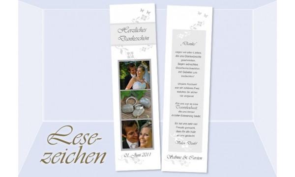 """Danksagung Hochzeit, Lesezeichen / Karte """"Blütenzauber"""", weiß grau"""