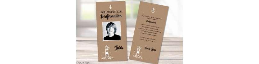 Einladungskarten Konfirmation Vintage Stil naturell Kraftpapier mit Foto Junge modern Lechtturm