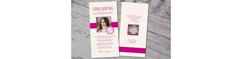 Einladung Konfirmation modern mit Foto Vintage Stempel pink