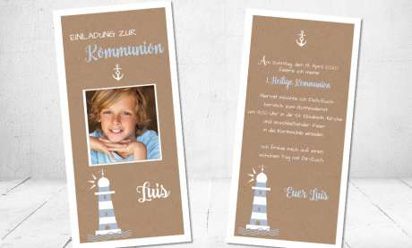 Einladungskarten Kommunion Vintage Stil naturell Kraftpapier mit Foto Junge Leuchtturm