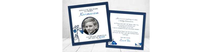 Einladungskarten Kommunion Motto Weinstock Reben
