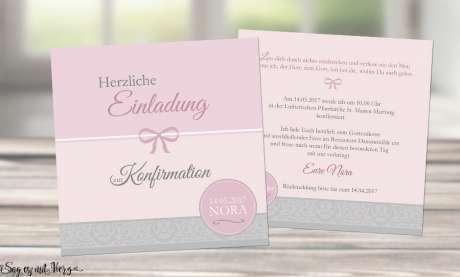 Einladung Kommunion rosa grau Einladungskarten ohne Foto Mädchen quadrat