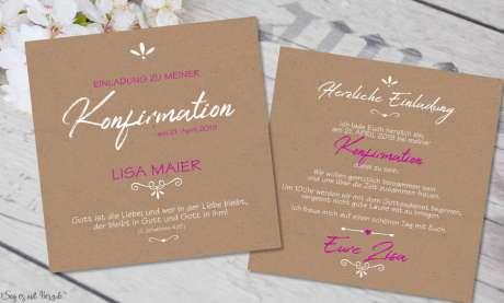 Einladungskarten Konfirmation Vintage Stil naturell Kraftpapier ohne Foto Mädchen pink rosa quadratisch