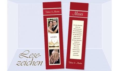 """Danksagung Hochzeit, Lesezeichen / Karte """"Merci"""", rot"""