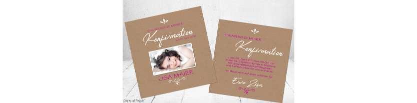 Einladungskarten Kommunion Vintage Stil naturell Kraftpapier mit Foto Mädchen pink rosa quadratisch