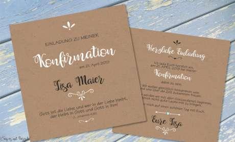 Einladungskarten Kommunion Vintage Stil naturell Kraftpapier ohne Foto Quadrat quadratisch