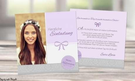 Einladungskarten Konfirmation mit Foto quadratisch lila flieder Mädchen