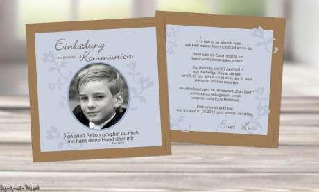 Einladungskarten Kommunion modern quadratisch mit Foto Quadrat Vintage Junge