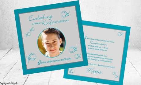 Einladungen Kommunion türkis grau mit Foto Fisch quadratisch