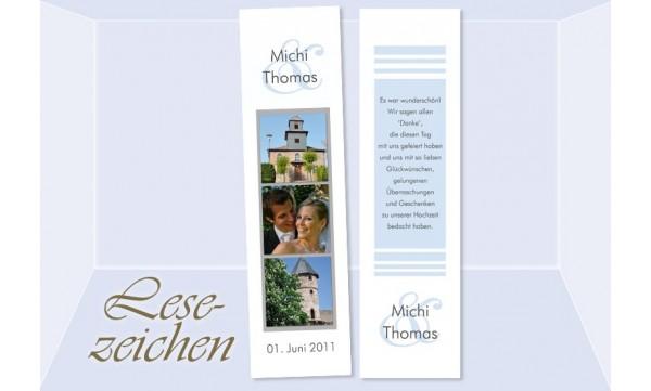 """Danksagung Hochzeit, Lesezeichen / Karte """"Streifenglanz"""", weiß hellblau"""
