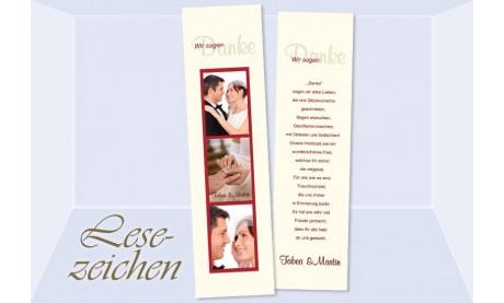 """Danksagung Hochzeit, Lesezeichen / Karte """"Danke"""", creme rot"""