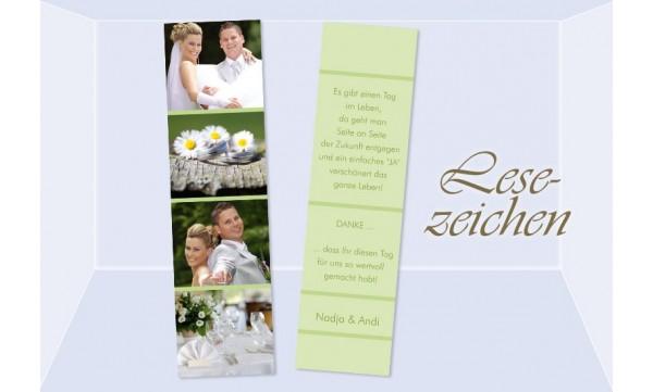 """Danksagung Hochzeit, Lesezeichen / Karte """"Fotostreifen"""", grün"""