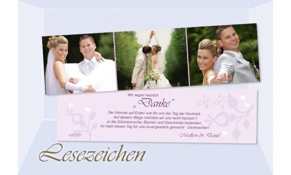 """Danksagung Hochzeit, Lesezeichen / Karte """"Zauberwald"""", flieder"""