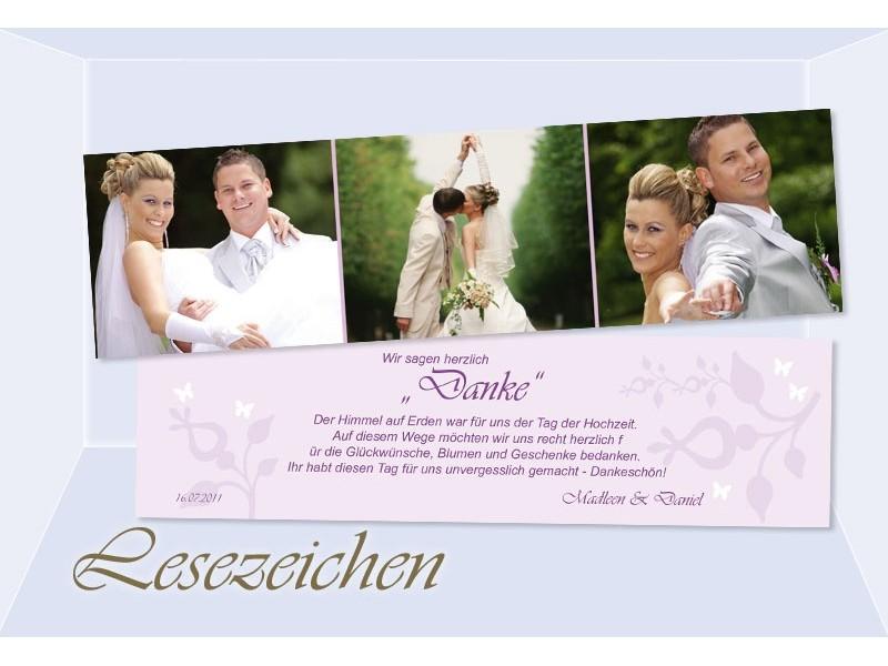 Danksagung Hochzeit, Lesezeichen / Karte, Danksagungskarte, flieder