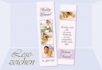 """Danksagung Hochzeit, Lesezeichen / Karte """"Lichterglanz"""", rosé"""