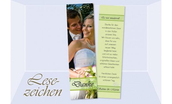 """Danksagung Hochzeit, Lesezeichen / Karte """"Portrait"""", grün"""