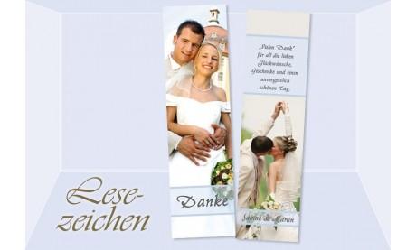 """Danksagung Hochzeit, Lesezeichen / Karte """"Sommertraum"""", hellblau"""