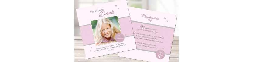 Dankeskarten Kommunion Mädchen Quadrat rosa