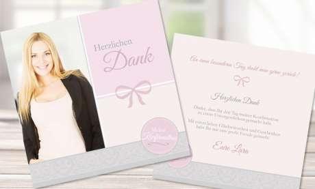 Dankeskarten Konfirmation Mädchen Quadrat rosa