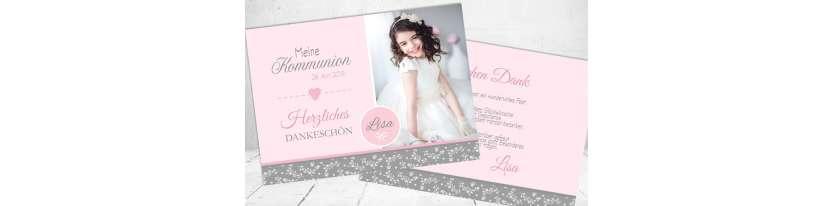 Danksagungskarte Kommunion Mädchen rosa grau Vintage Spitze Postkarte