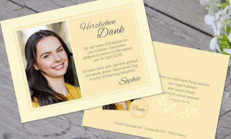 Dankeskarten Konfirmation gelb Postkarte