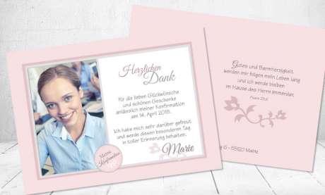 Dankeskarte Konfirmation rosa Mädchen Postkarte