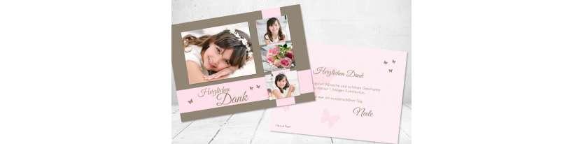 Dankeskarte Postkarte Kommunion Mädchen rosa viele Fotos