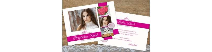 Moderne Danksagungskarte Konfirmation viele Fotos Mädchen pink