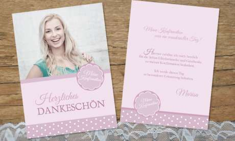 Dankeskarten Konfirmation rosa Mädchen Postkarte