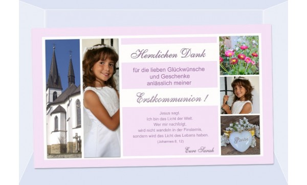 Danksagung Kommunion / Konfirmation, Fotokarte 10x18 cm, rosa