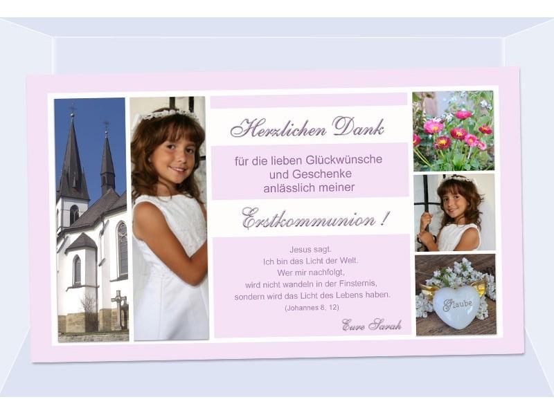 Danksagung Kommunion / Konfirmation, Danksagungskarte, Fotokarte, rosa