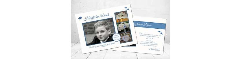 Moderne Danksagung Kommunion Fisch blau Postkarte