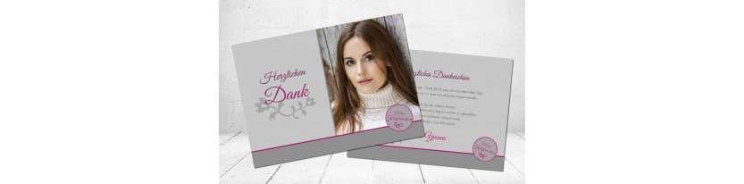 Dankeskarte Konfirmation grau rosa pink modern Postkarte