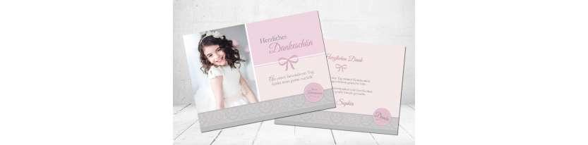 Dankeskarten Kommunion rosa grau Schleife Postkarte Mädchen