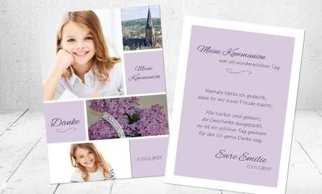 Danksagungskarte Kommunion viele Fotos lila flieder Mädchen