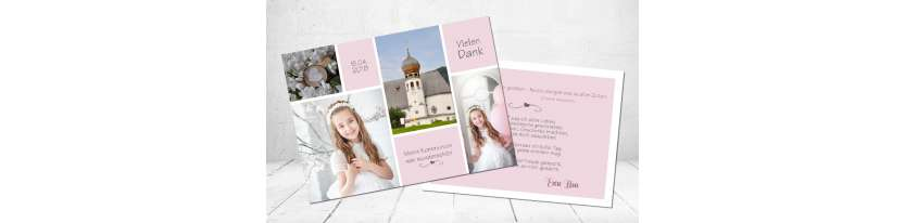 Danksagungskarte Mädchen rosa viele Fotos Postkarte Fotocollage