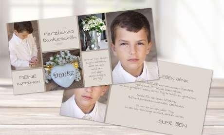 Danksagungskarte Junge Kommunion taupe grau beige viele Fotos Postkarte Fotocollage
