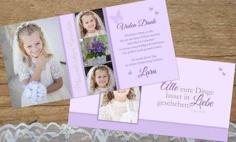 Dankeskarten Kommunion flieder lila Postkarte länglich Mädchen Schmetterling