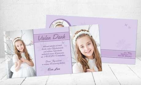Danksagungskarte Kommunion Mädchen flieder lila Konfirmation