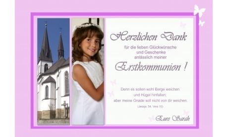 Danksagung Kommunion / Konfirmation, Fotokarte 10x15 cm, rosa