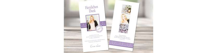 Danksagungskarte Konfirmation flieder lila länglich modern