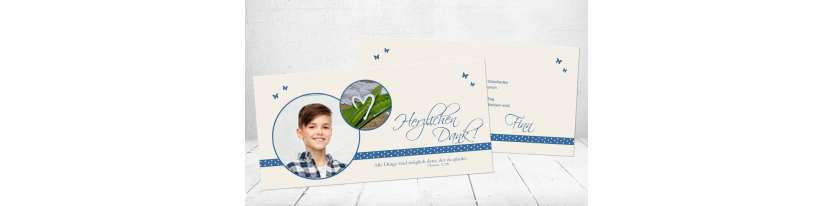 Danksagungskarte Kommunion blau