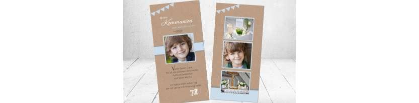 Dankeskarten Kommunion Junge Vintage Kraftpapier viele Fotos
