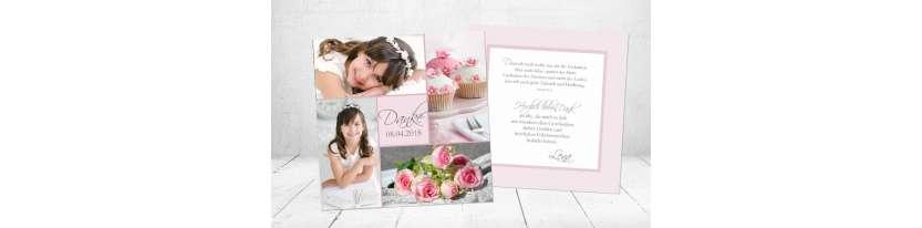 Moderne Danksagungskarte Kommunion rosa Mädchen Quadrat