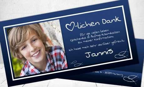 Dankeskarte Konfirmation dunkelblau Postkarte länglich Fisch Ichthys Symbol