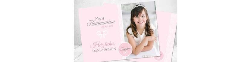 Dankeskarte Kommunion rosa grau modern edel Schleife Postkarte